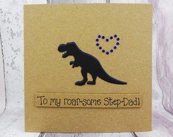 Funny dinosaur birthday card for Dad, Handmade T-Rex Dinosaur card for Daddy, Step-Dad or Granddad, Pun card, Daddy-saurus! Father's Day