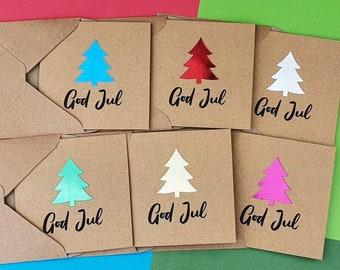 God Jul Christmas cards pack, Handmade Scandinavian Christmas tree cards, Mini Kraft Scandi cards, Danish, Norwegian, Swedish, Foiled cards