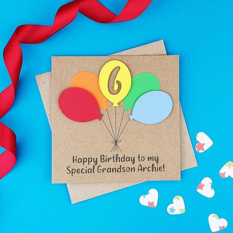 6th birthday card Birthday balloons card Personalised sixth Kraft and brights