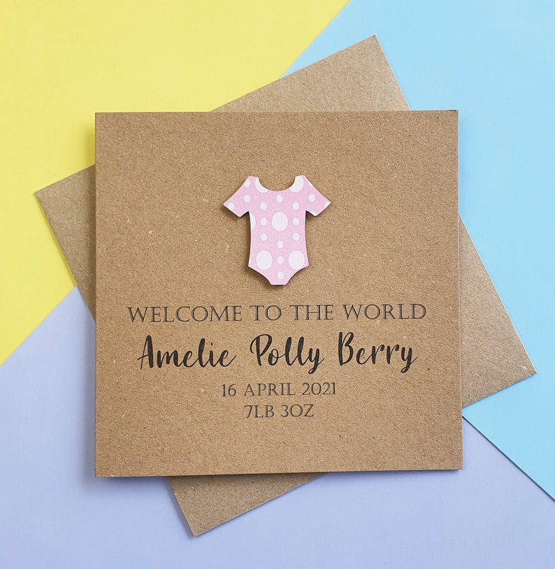 Personalised new baby girl card Handmade new baby card Baby image 0