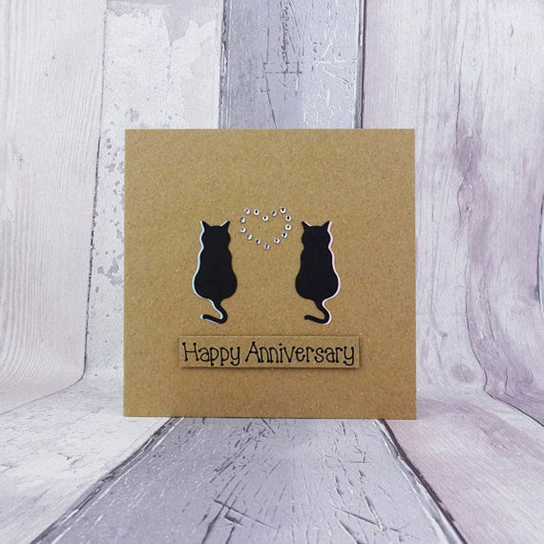 Cat anniversary card for couple Handmade anniversary card image 0