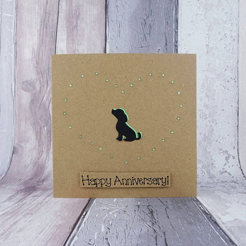 Puppy Love card Labrador Beagle or Spaniel puppy Handmade image 0