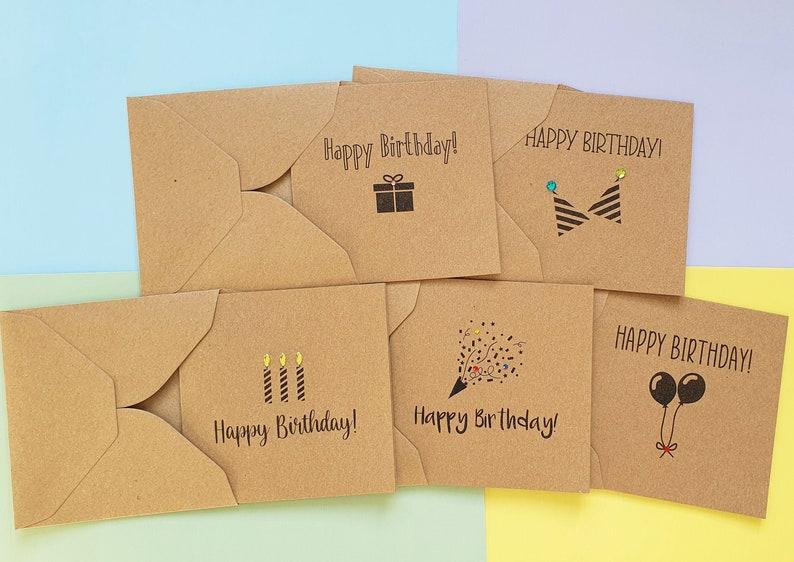 Pack of 5 cute birthday cards with gems Modern Kraft birthday image 0