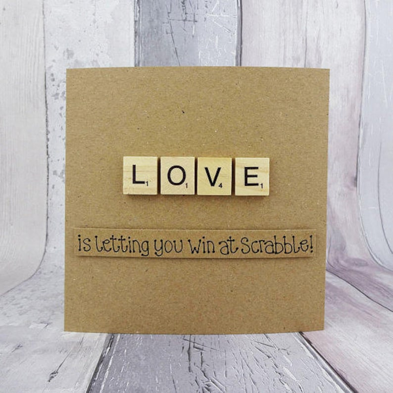 Funny Scrabble Anniversary card Valentine's Day card image 0