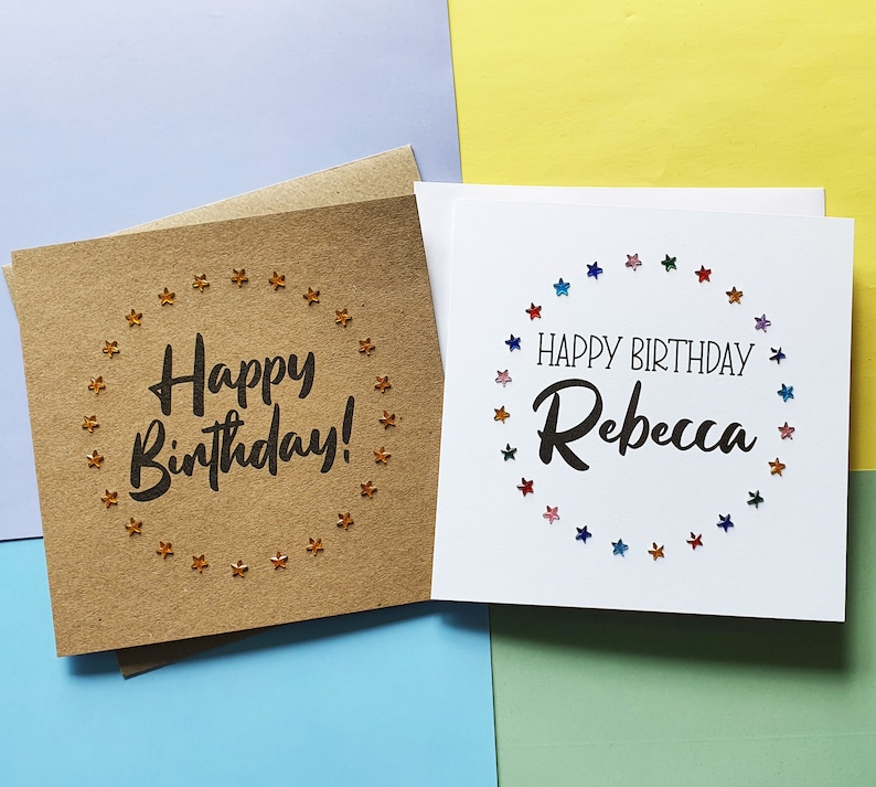 Star birthday card with name Personalised birthday card with image 0