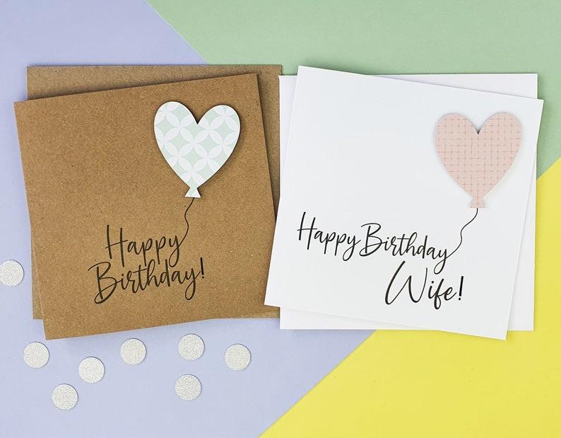 Heart balloon birthday card for her Luxury handmade birthday image 0