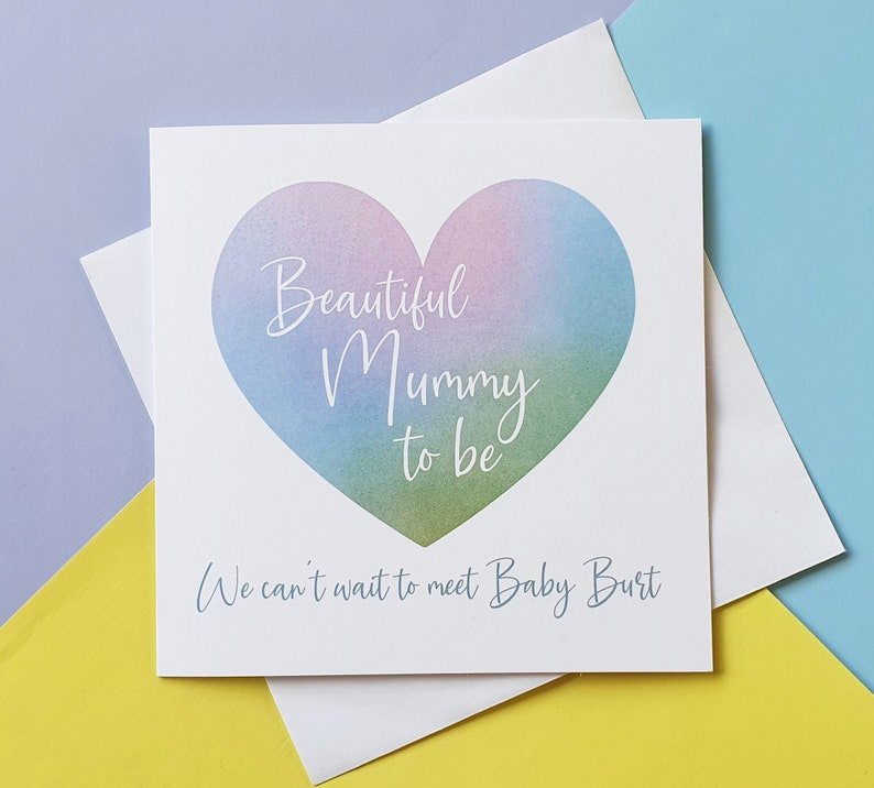 Baby Shower card Mummy to be watercolour heart card image 0