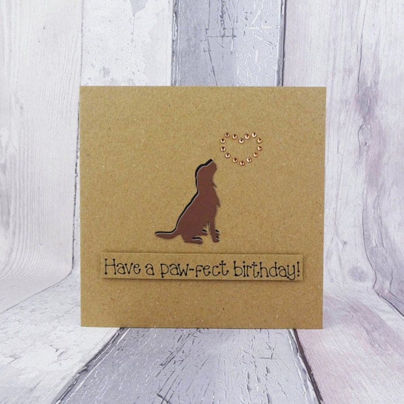 Handmade chocolate brown Springer Spaniel birthday card image 0