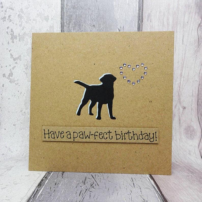 CLEARANCE Labrador birthday cards Handmade birthday card Paw-fect - sky blue