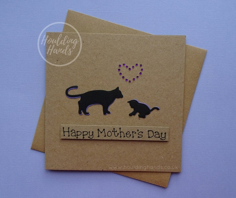 SALE Cat Mother's Day cards Handmade card for Mum Cat Cat and kitten