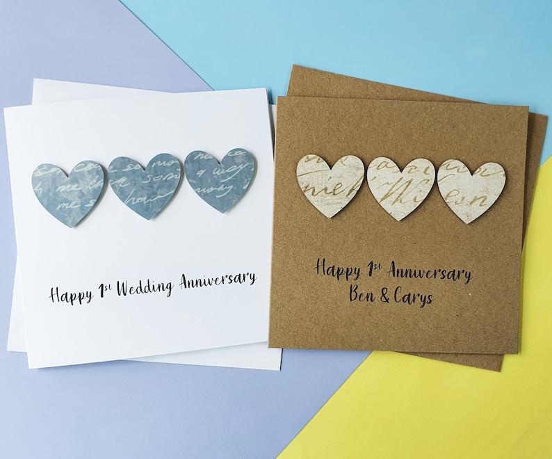 1st anniversary card Paper wedding anniversary card Handmade image 0