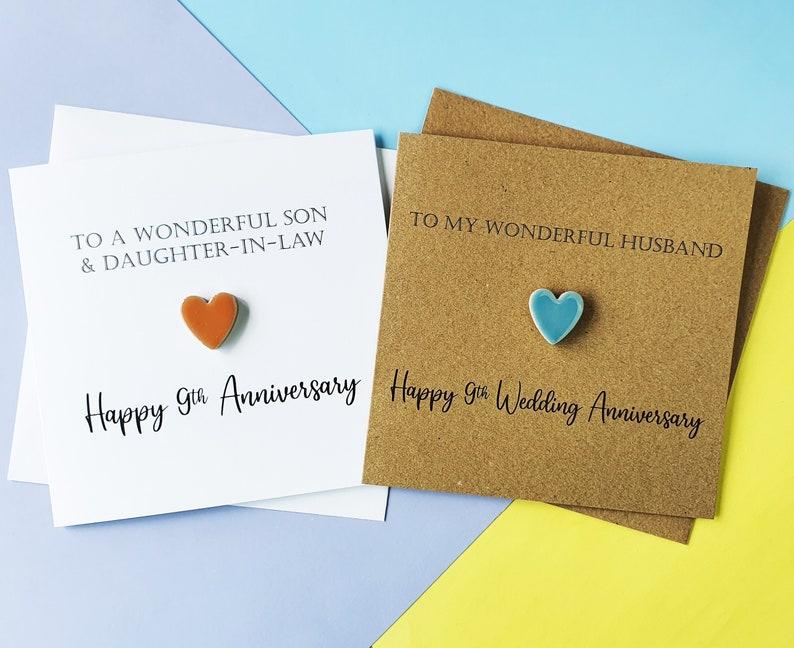 9th anniversary card Pottery wedding anniversary card image 0