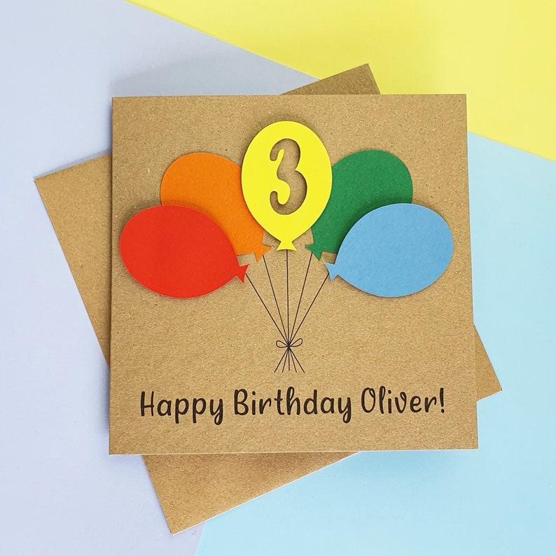 3rd birthday card Third birthday card Handmade birthday card image 0