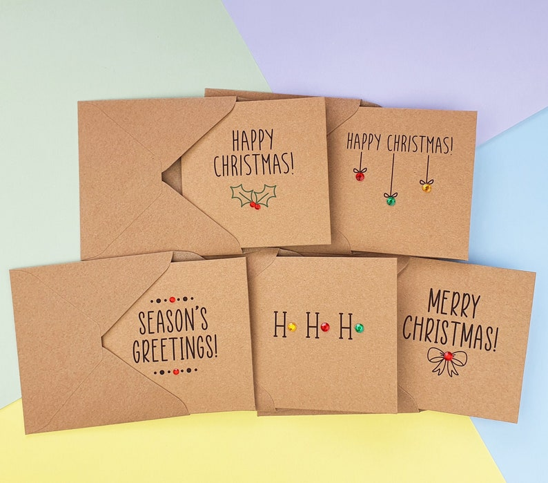 Pack of 5 Cute Christmas cards with gems Modern Kraft Merry image 0