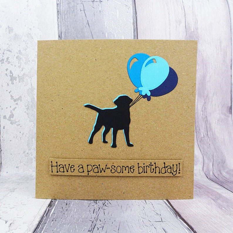 Labrador birthday card Birthday balloons card Happy Birthday image 0
