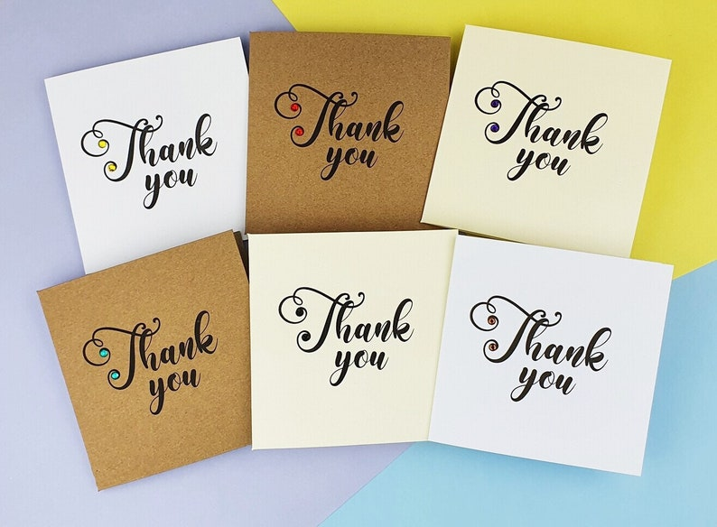 Handmade thank you cards pack Elegant mini thanks cards with image 0