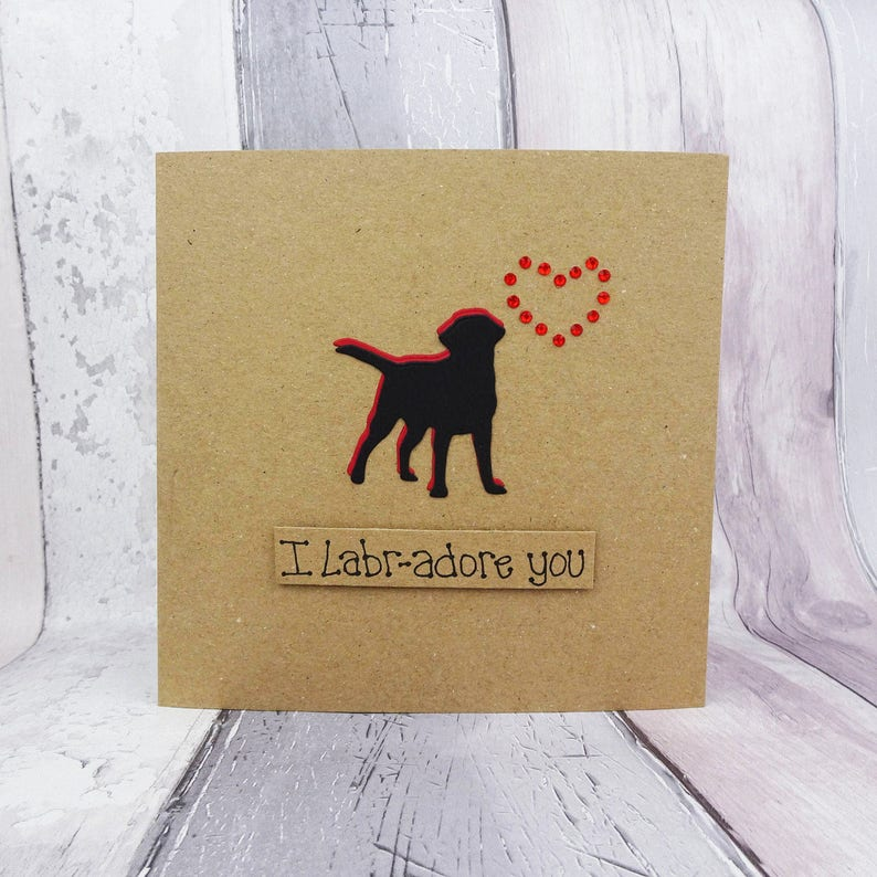 Handmade Black Labrador card Labrador birthday card Dog Pun Red