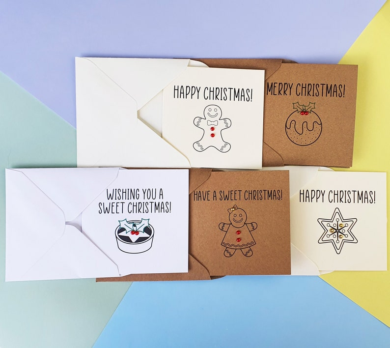 Mini Christmas cards pack Sweet Christmas cards with gems image 0