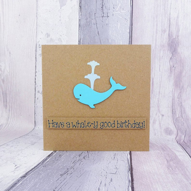 Funny whale birthday card Handmade blue whale happy birthday image 0