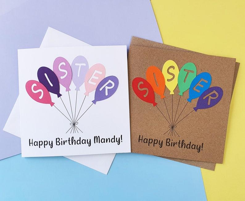 Sister birthday card Handmade Happy Birthday card for Sister image 0