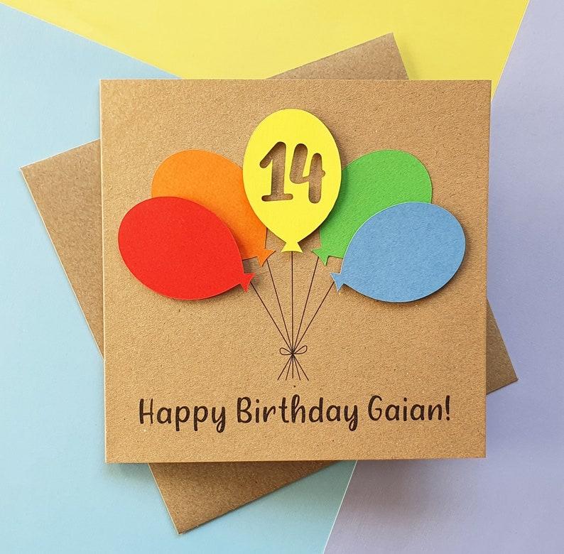 14th birthday card Balloon birthday card ANY AGE 13th Kraft and brights