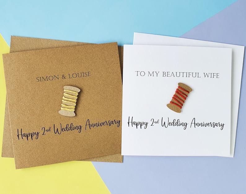 2nd anniversary card Cotton wedding anniversary card image 0