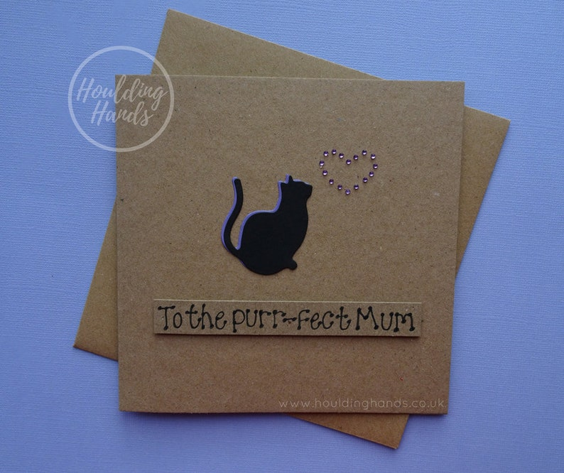 SALE Cat Mother's Day cards Handmade card for Mum Cat Purr-fect Mum