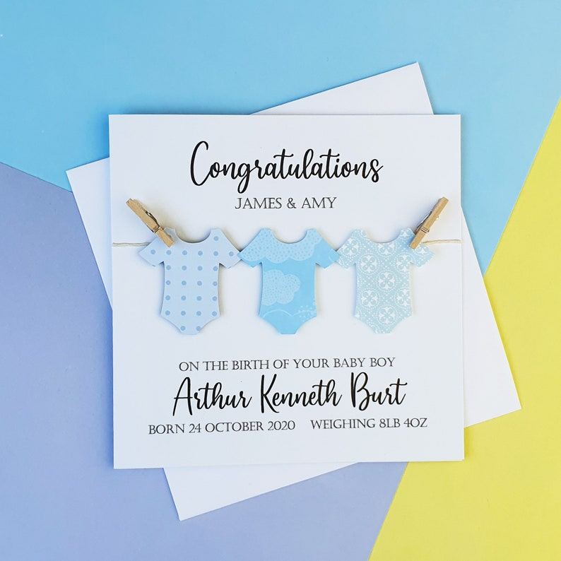 Personalised new baby boy card Handmade baby boy card White and blue