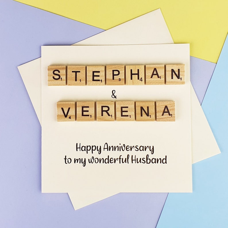 Scrabble Anniversary card with couple's names image 0