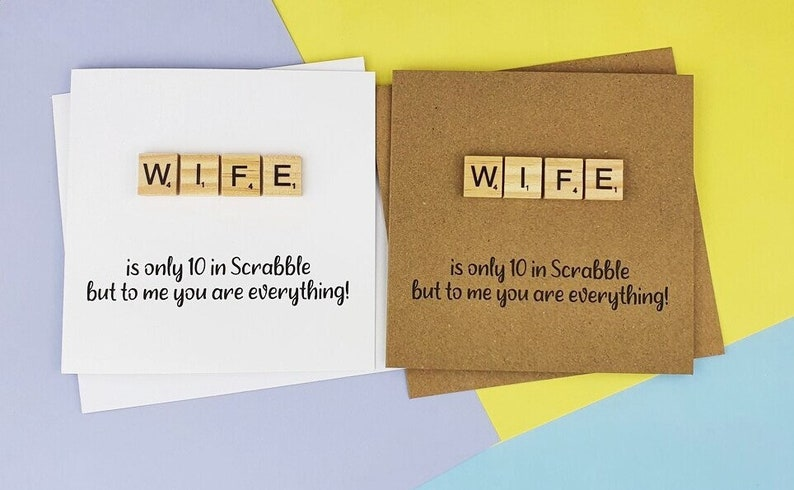 Scrabble Anniversary card for Wife Wife Birthday card image 0