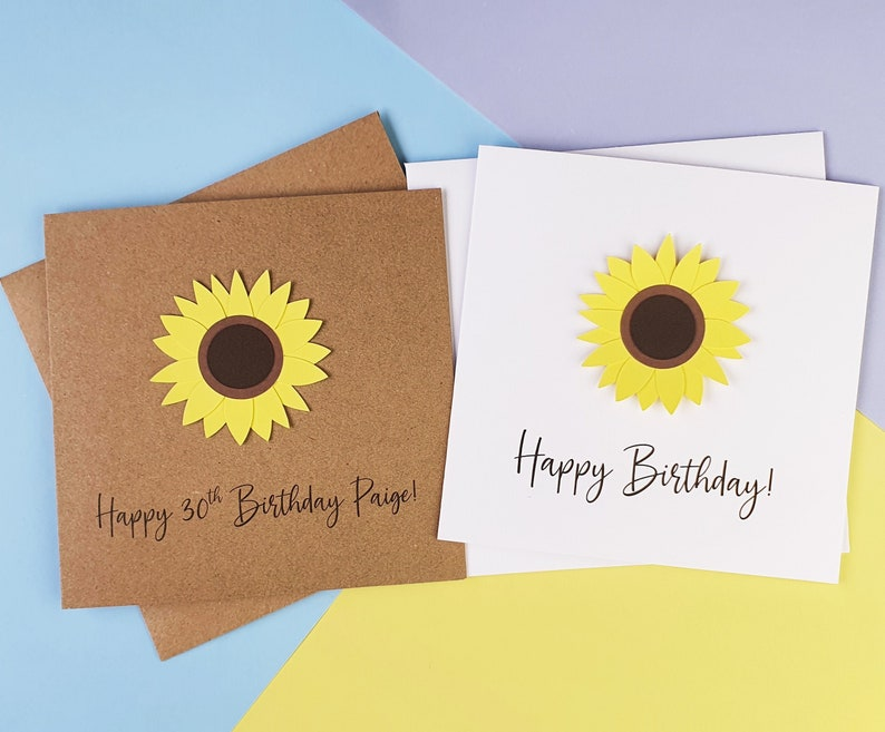 Sunflower birthday card Floral birthday card for her image 0