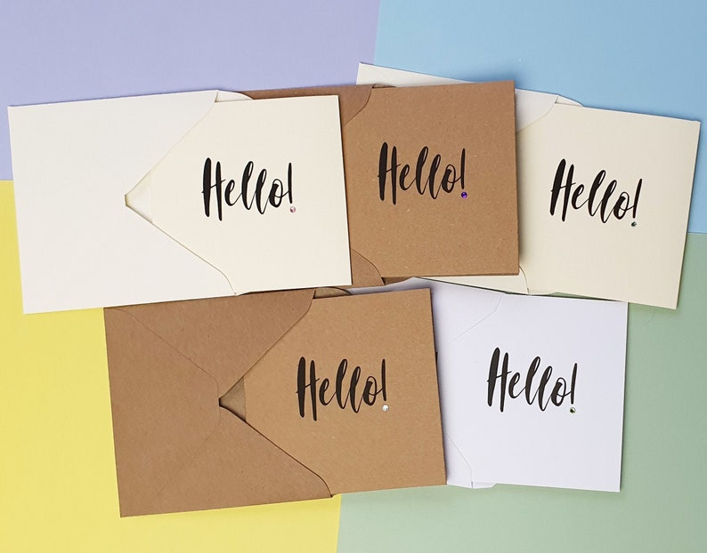 Hello cards with gems Calligraphy style Hello pack of cards Mix of card colours