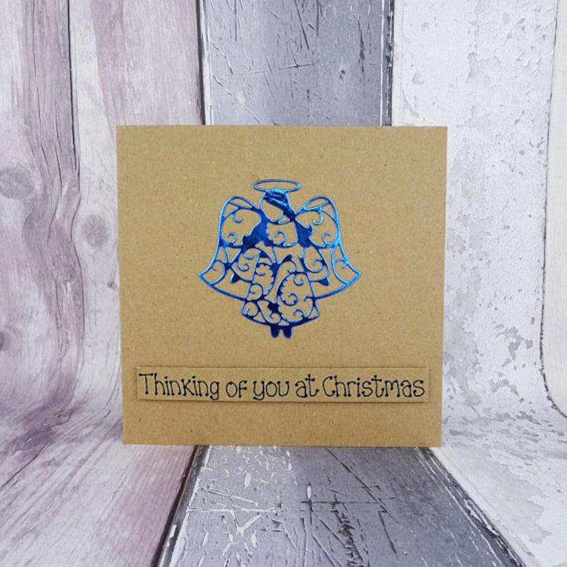 Angel Christmas card Handmade foiled angel Bereavement card image 0