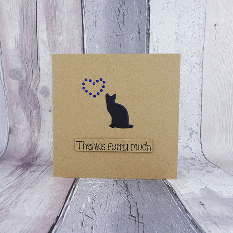 Cat thank you card Handmade thanks card Cat sitter card image 0