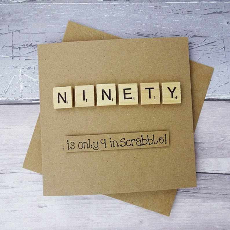 90th Birthday Card Ninetieth Scrabble Funny Handmade Happy Tile Wooden Alphabet Tiles Age