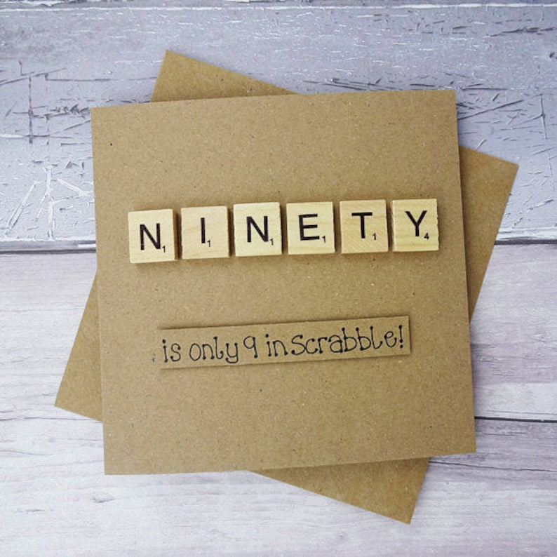 90th Birthday Card Ninetieth Scrabble Funny
