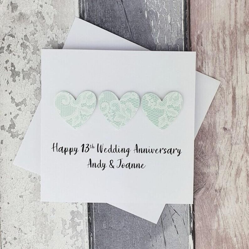 13th anniversary card lace wedding anniversary card