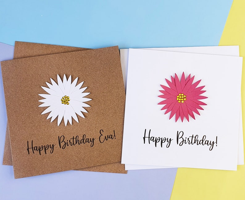 Gerbera Daisy birthday card Handmade Floral Birthday card image 0