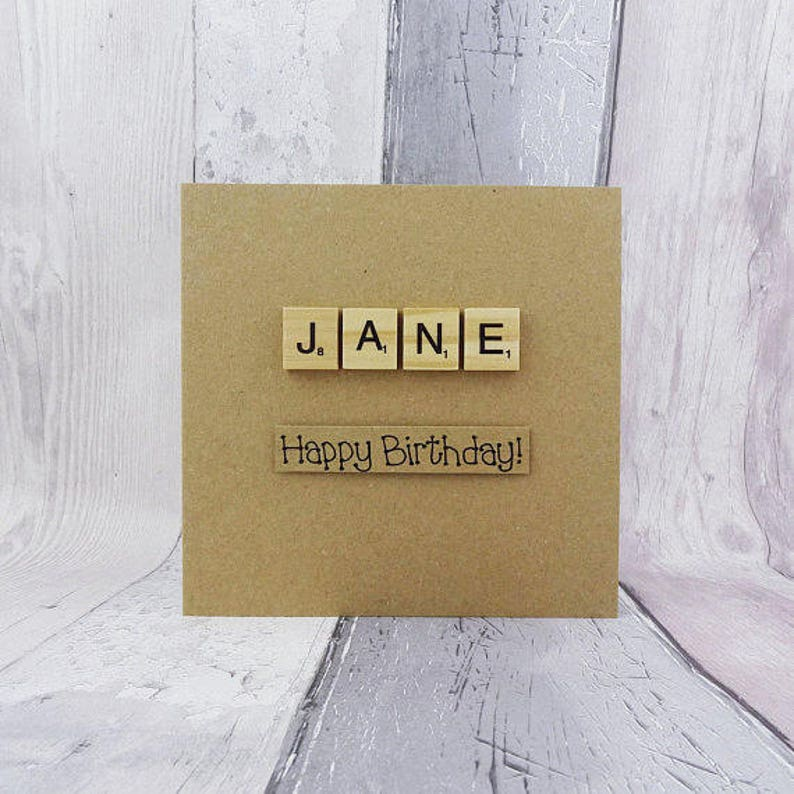 Personalised Scrabble birthday card Name in wooden Scrabble image 0
