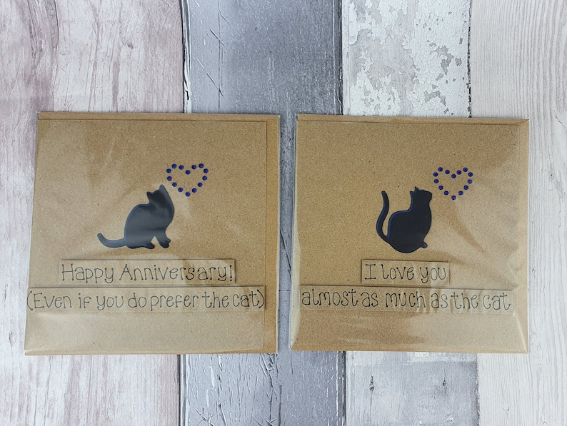 CLEARANCE Cat Anniversary cards Handmade cat love cards image 0