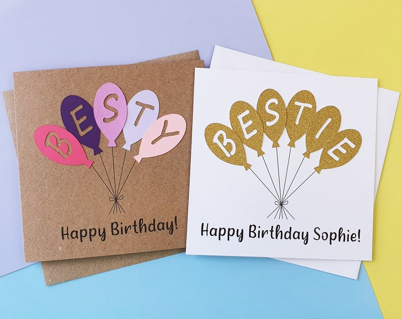 Bestie birthday card Handmade Happy Birthday card for Besty image 0