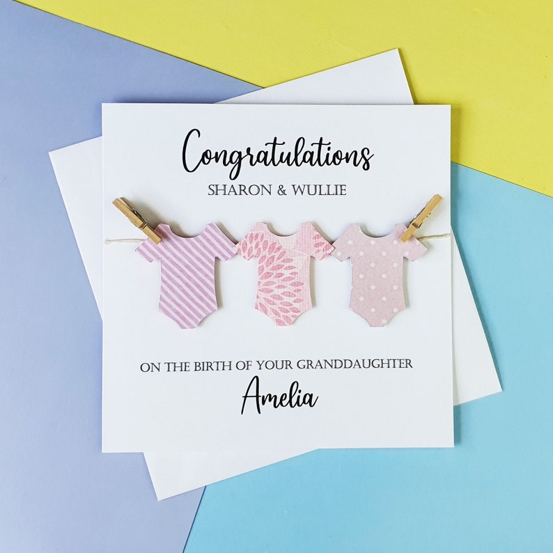 Personalised new Granddaughter card New Grandparents Card White and pink