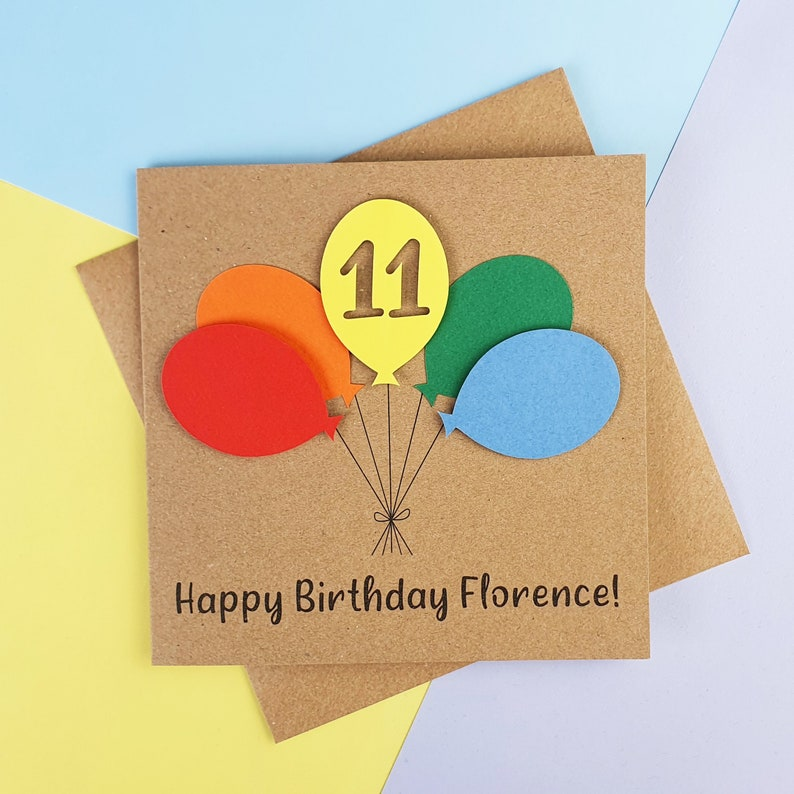 11th birthday card Eleventh birthday card Handmade birthday Kraft with brights