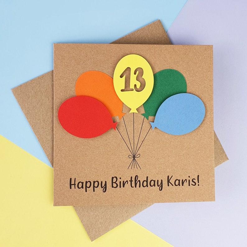 13th birthday card Thirteenth birthday card Teenager image 0