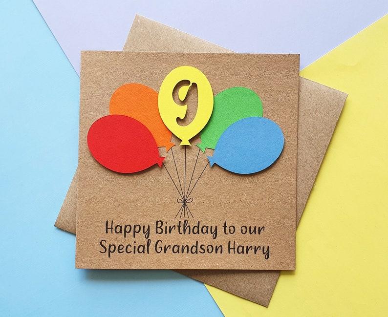 9th birthday card Colourful Balloon birthday card ANY AGE Kraft and brights