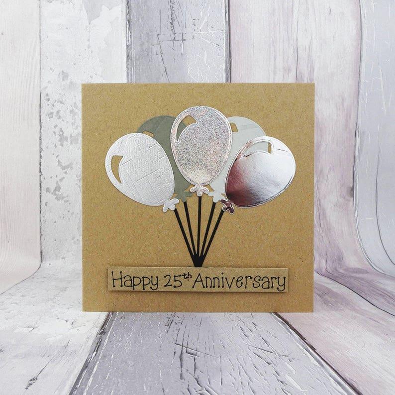 25th anniversary card Silver wedding anniversary card image 0