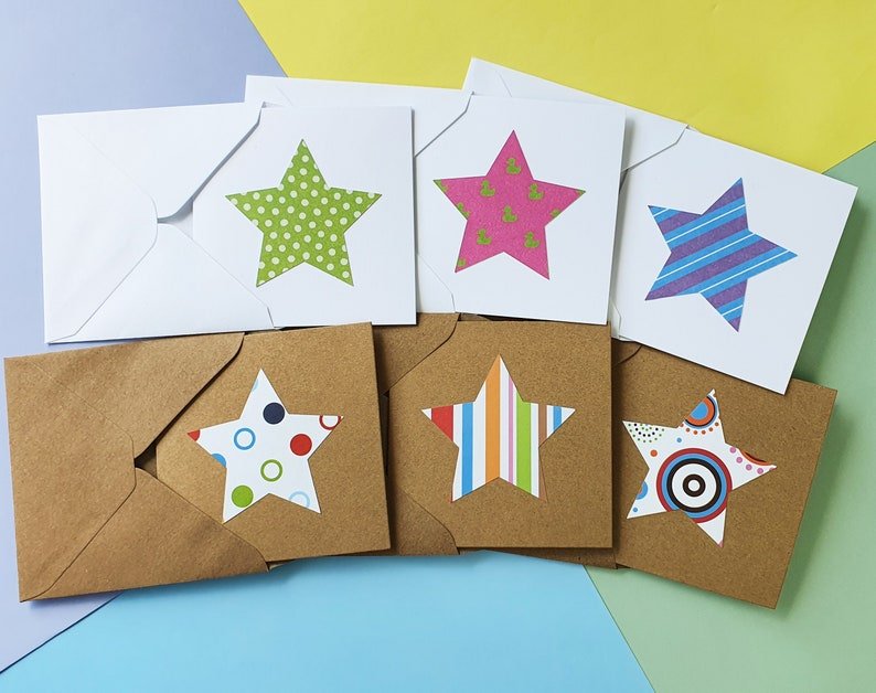 Bright stars blank cards Handmade mini cards pack You're Mixed