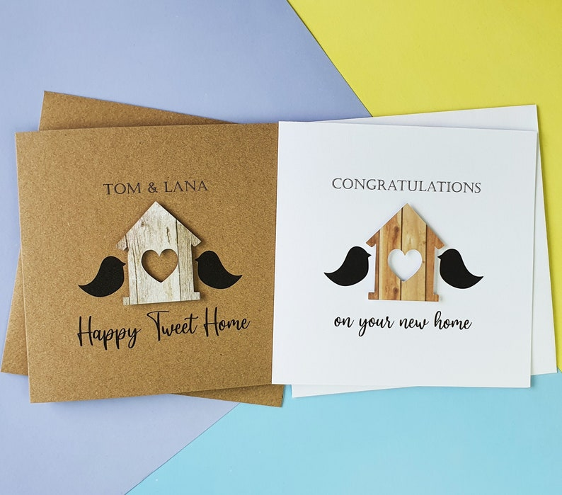 Personalised new home card Bird house card Housewarming image 0