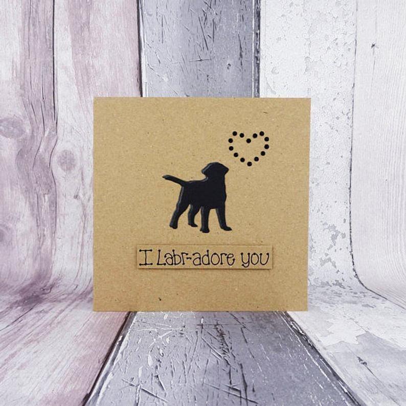 SALE Labrador Love cards Handmade anniversary card Labr-adore - black