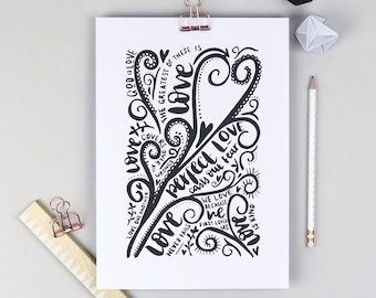 Love, Love, Love Hand Lettered Scripture Print - Personalised - Christian Gifts - Faith Print - A4 Print - Monochrome Print - God is love